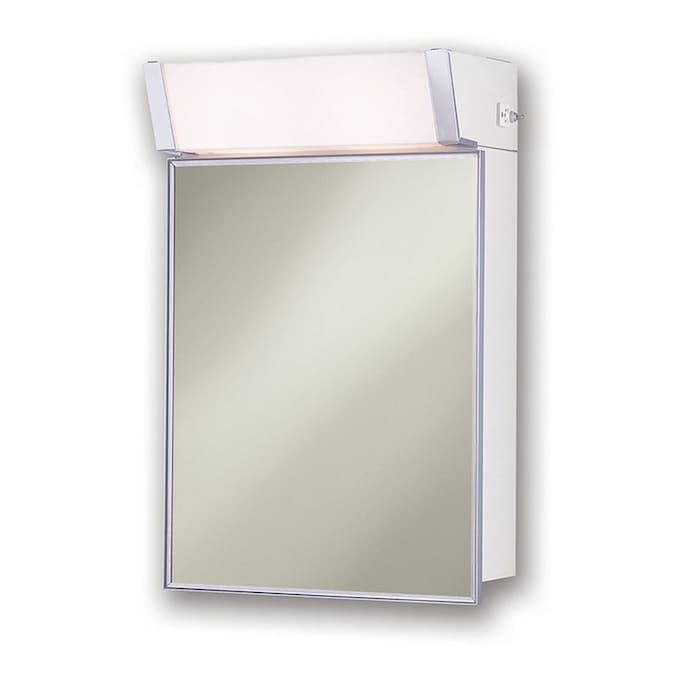 Jensen With Lights Cabinet 16 In X 24 In Rectangle Surface Mirrored Medicine Cabinet With Outlet And Lights In The Medicine Cabinets Department At Lowes Com