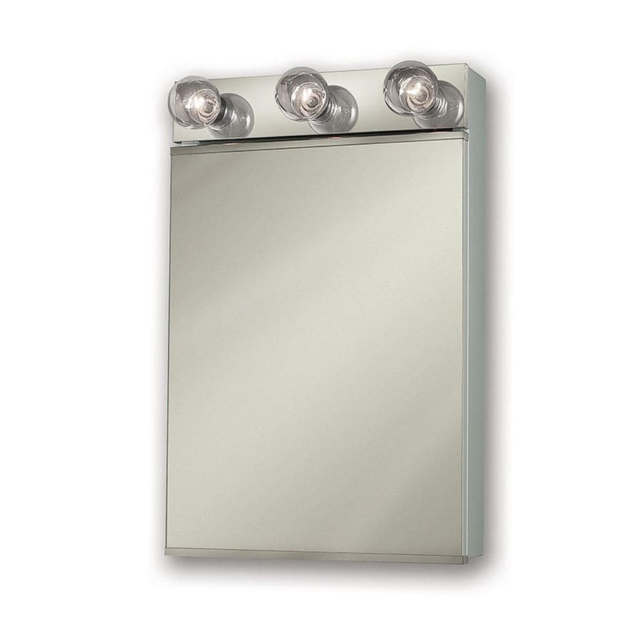 Jensen Styleline Ii 18-in x 28-in Rectangle Surface Mirrored Steel Medicine Cabinet with Light