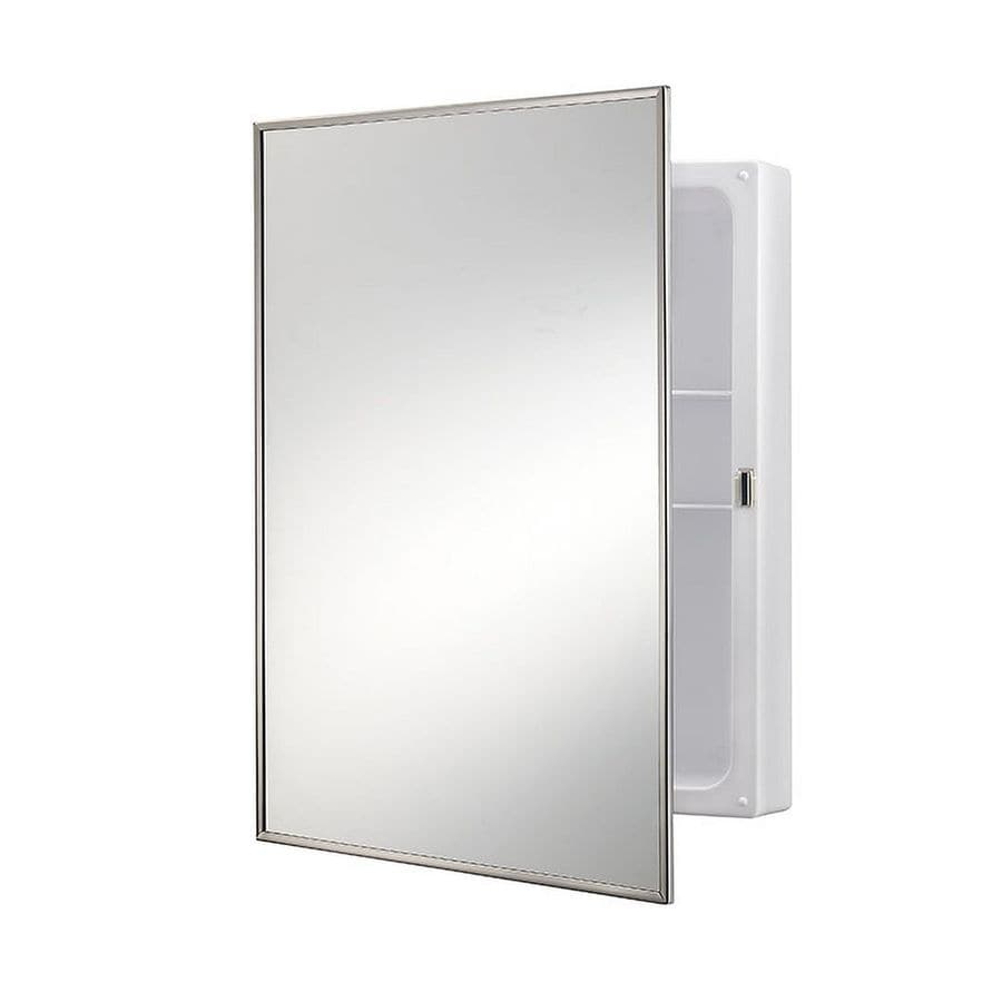 jensen styleline 1625in x 2225in rectangle surface mirrored pvc medicine cabinet