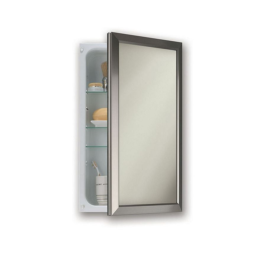 Jensen Hampton 15.75-in x 25.5-in Rectangle Recessed Mirrored Steel Medicine Cabinet