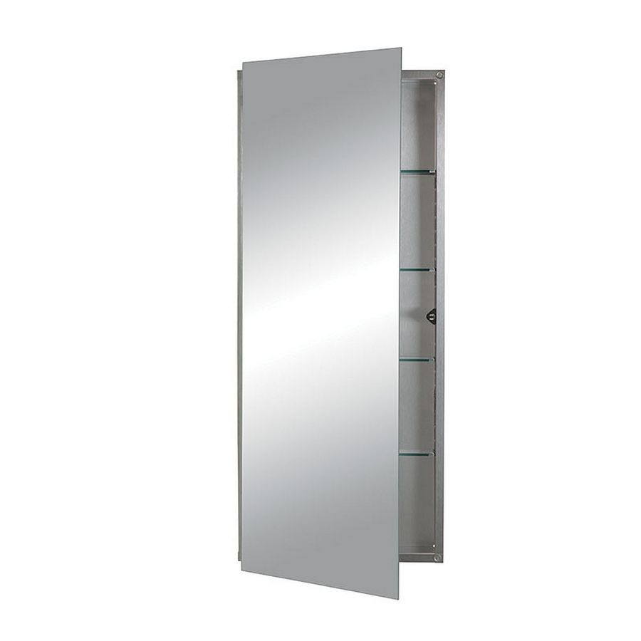 Jensen Illusion 15-in x 36-in Rectangle Recessed Mirrored Stainless Steel Medicine Cabinet