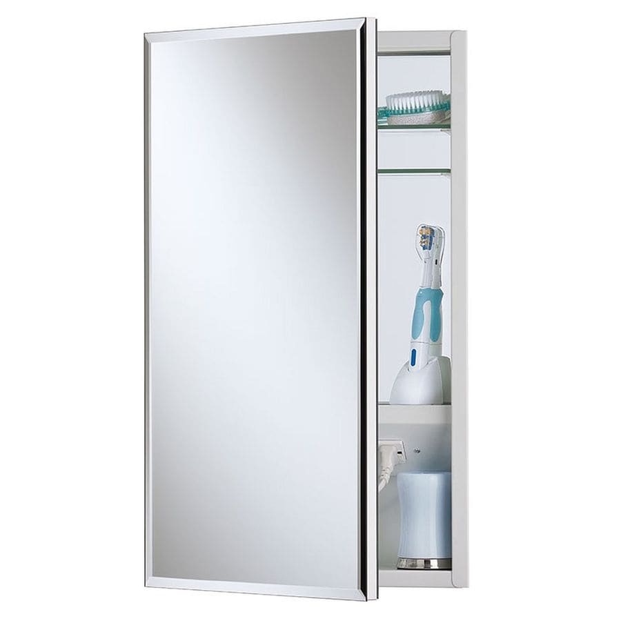 Jensen Meridian 15 In X 35 In Rectangle Surface/Recessed Mirrored Steel  Medicine