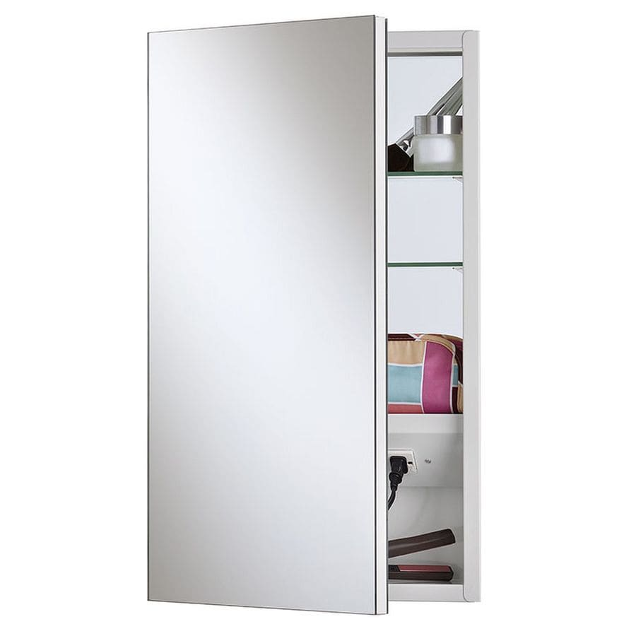 Jensen Meridian 15-in x 25-in Rectangle Surface/Recessed Mirrored Steel Medicine Cabinet with Outlet