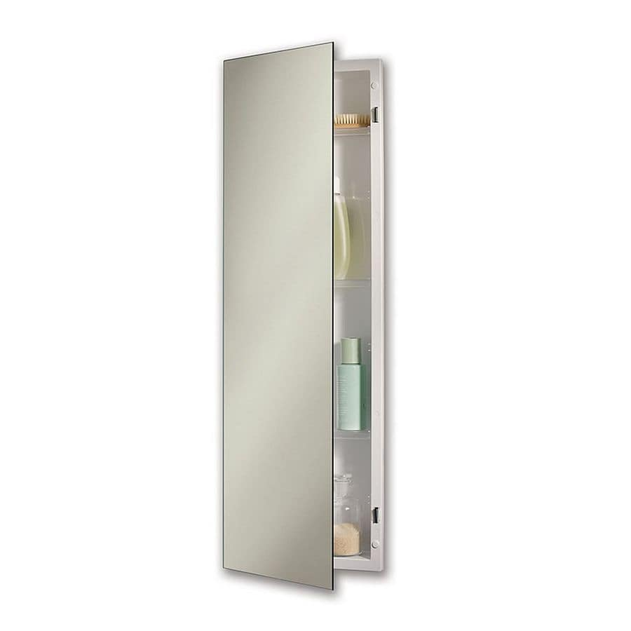 Jensen Pillar 12-in x 36-in Rectangle Recessed Mirrored Plastic Medicine Cabinet