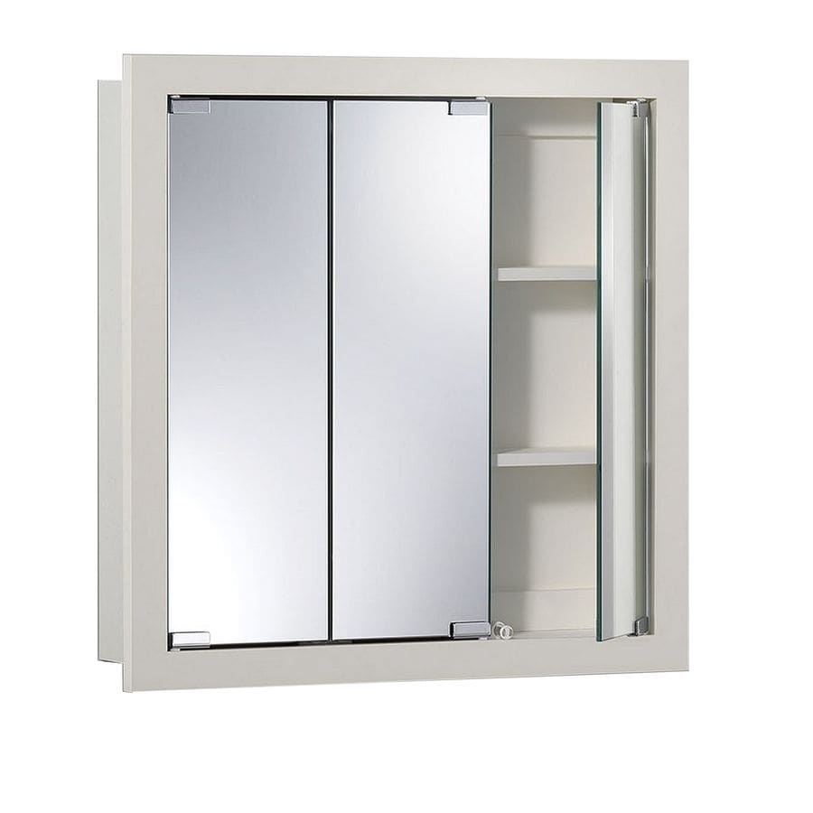 Jensen Granville 24-in x 24-in Rectangle Surface Poplar Mirrored Particleboard Medicine Cabinet