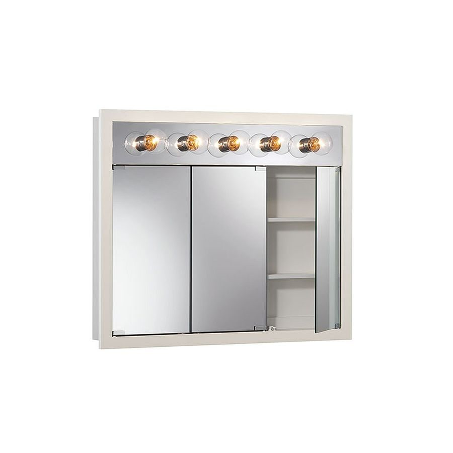 medicine cabinet with lights shop granville 36 in x 30 in rectangle surface 23148
