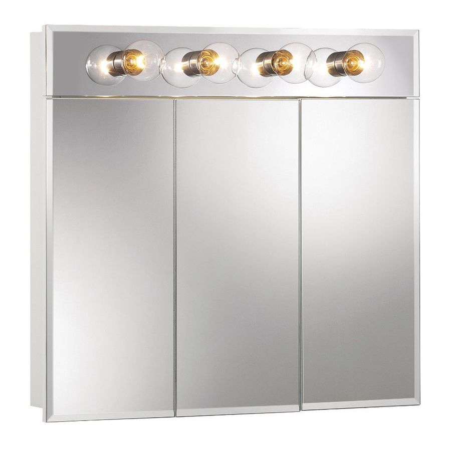 Jensen Ashland 30-in x 28-in Rectangle Surface Mirrored Particleboard Medicine Cabinet with Lights