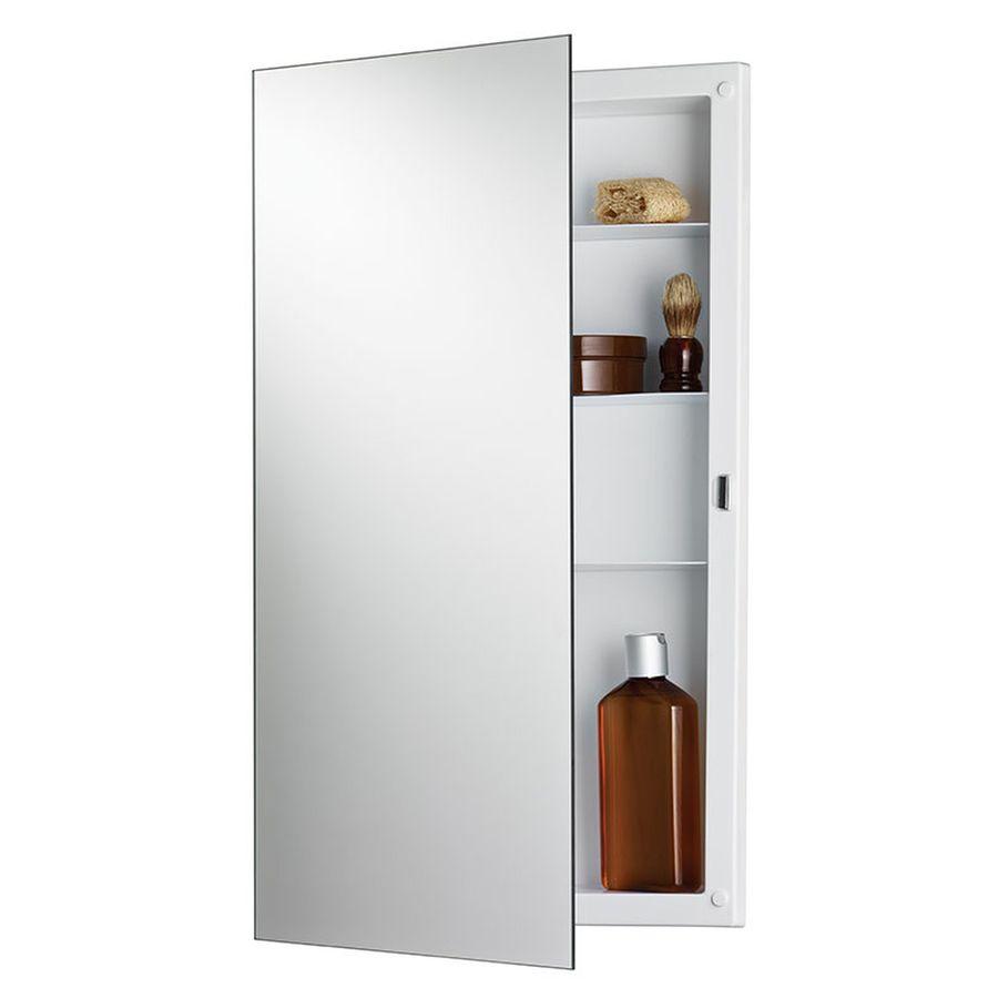 Jensen Builder 16-in x 26-in Rectangle Recessed Mirrored Plastic Medicine Cabinet