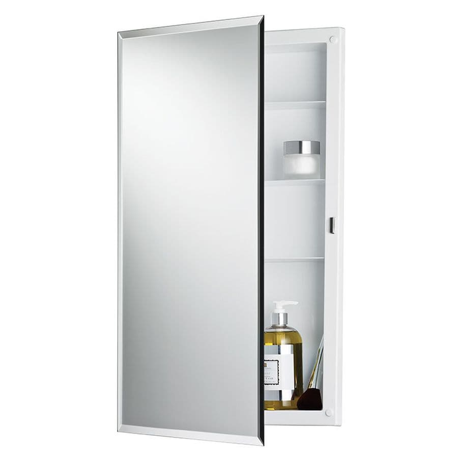 27 5 in rectangle surface mirrored wood medicine cabinet at lowes com - Jensen Builder 16 In X 26 In Rectangle Recessed Mirrored Plastic Medicine Cabinet