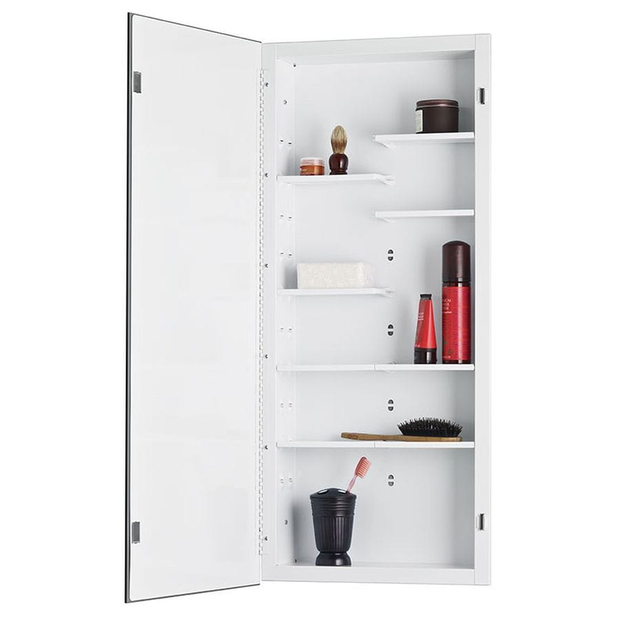 Jensen Focus 16 In X 36 In Rectangle Recessed Mirrored Steel Medicine  Cabinet