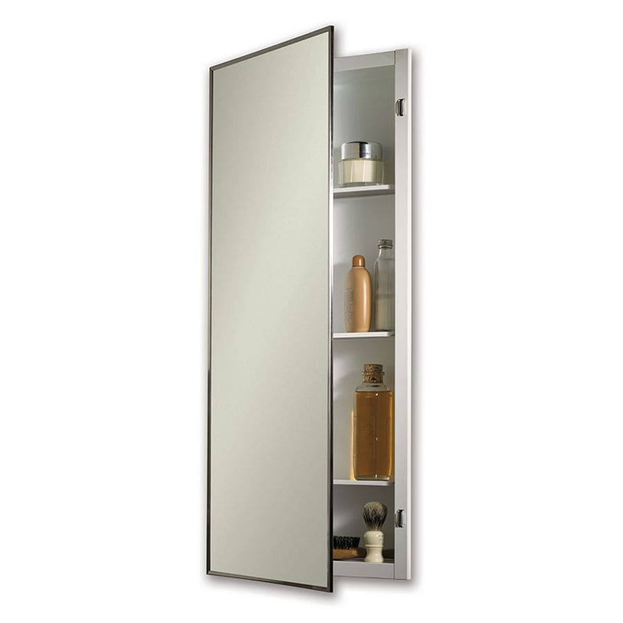 Jensen Styleline 16-in x 36-in Rectangle Recessed Mirrored Steel Medicine Cabinet