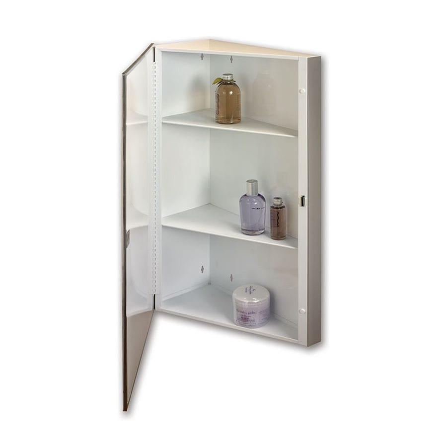 Jensen Corner 16-in x 30-in Rectangle Surface Mirrored Steel Medicine Cabinet