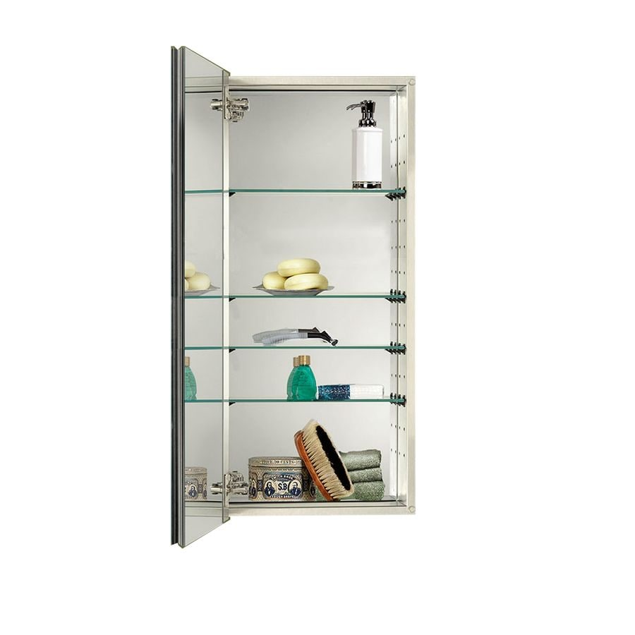 Jensen Studio Iv 15-in x 35-in Rectangle Surface/Recessed Mirrored Stainless Steel Medicine Cabinet