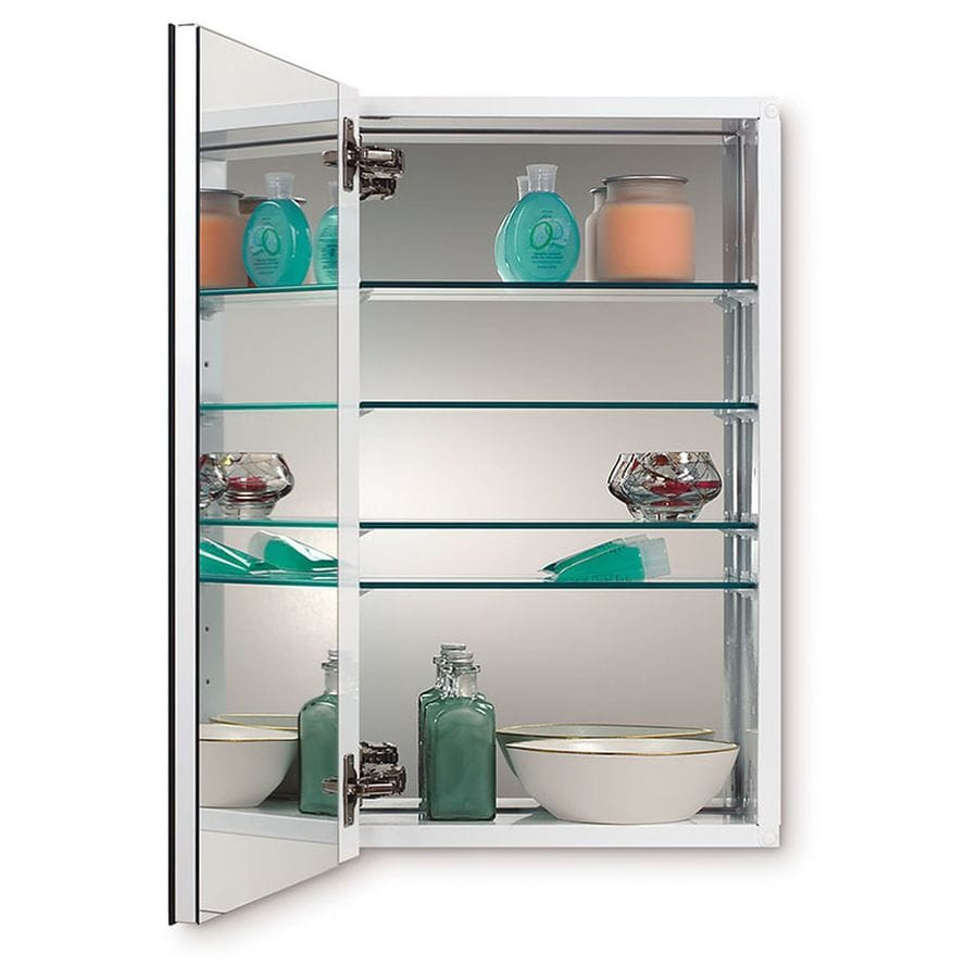 Jensen Metro Deluxe 15-in x 25-in Rectangle Surface/Recessed Mirrored Steel Medicine Cabinet