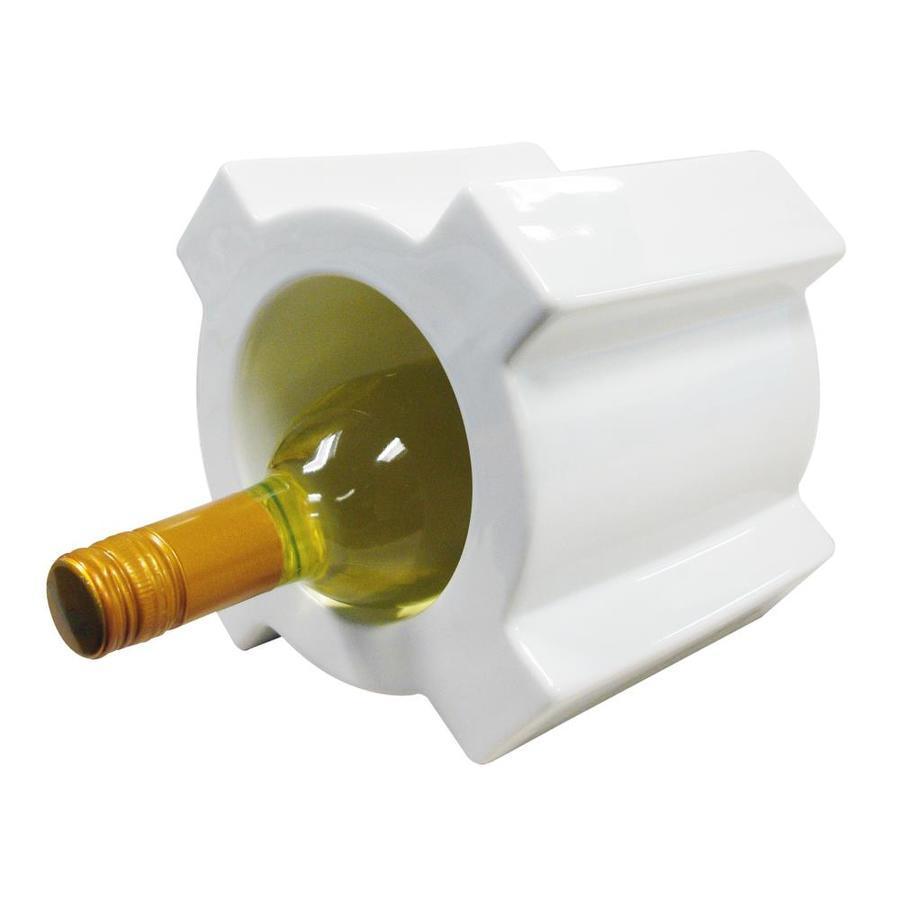 Vinotemp Ceramic Wine Bottle Holder 1 Bottle White Tabletop Wine