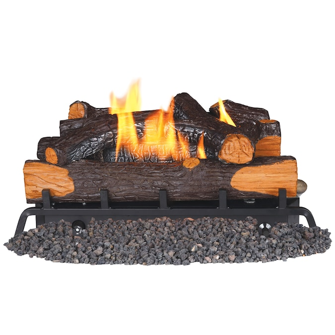 Remington 24 In 32000 Btu Dual Burner Vent Free Gas Fireplace Logs With Thermostat And Remote In The Gas Fireplace Logs Department At Lowes Com