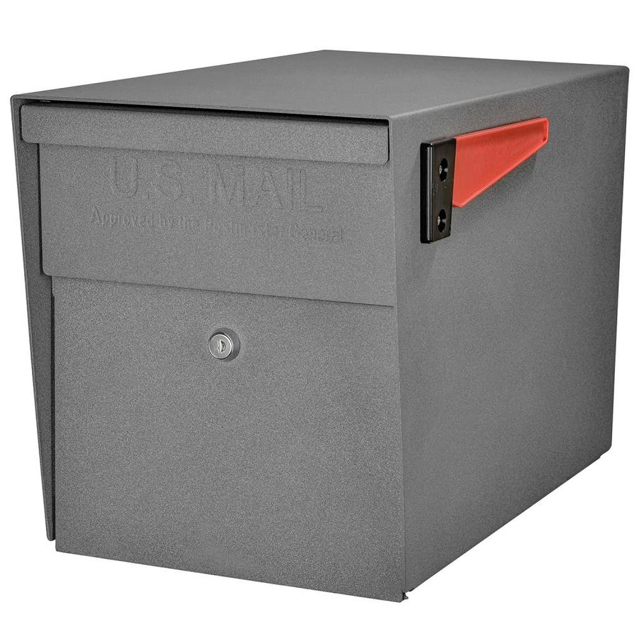 Mail Boss 11.25-in x 13.75-in Metal Granite Lockable Post Mount Mailbox