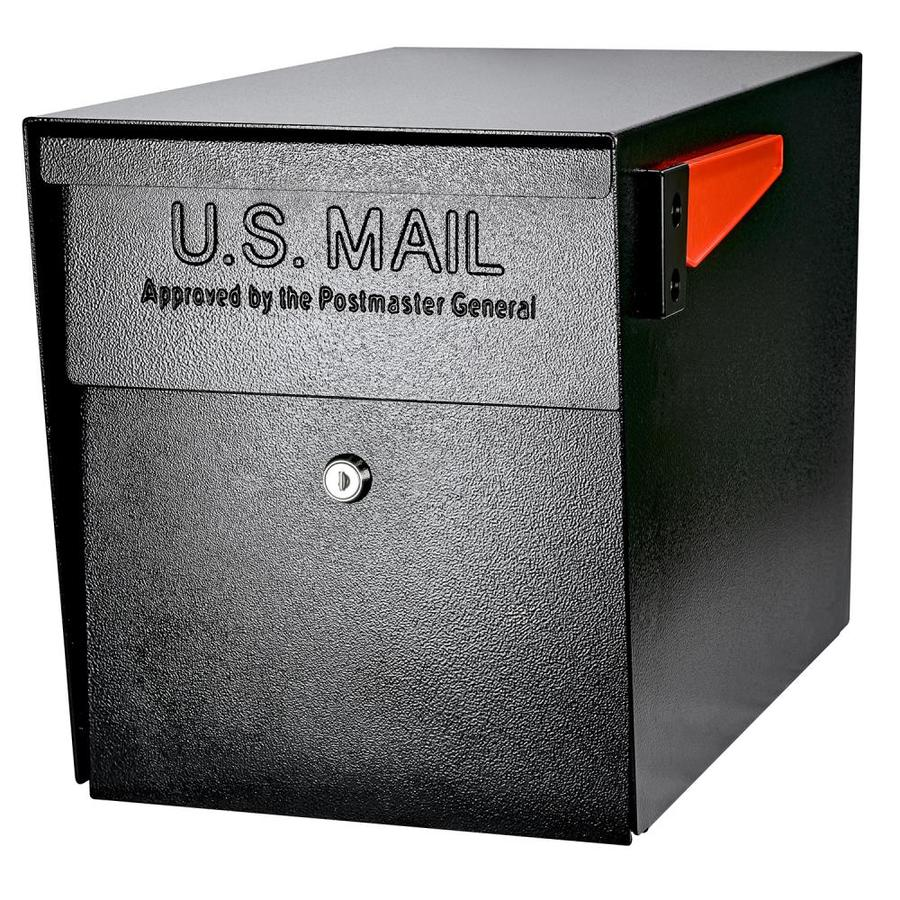 Mail Boss 11.25-in x 13.75-in Metal Black Lockable Post Mount Mailbox