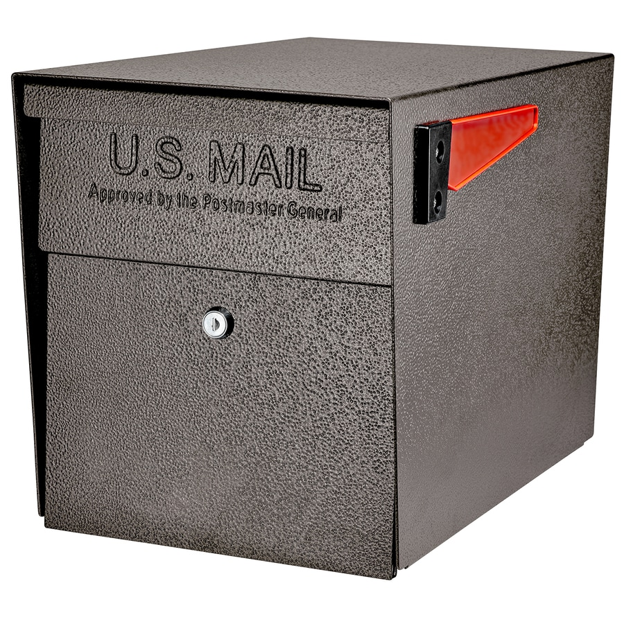 Mail Boss MailBoss Curbside 11.25-in x 13.75-in Metal Bronze Lockable Post Mount Mailbox