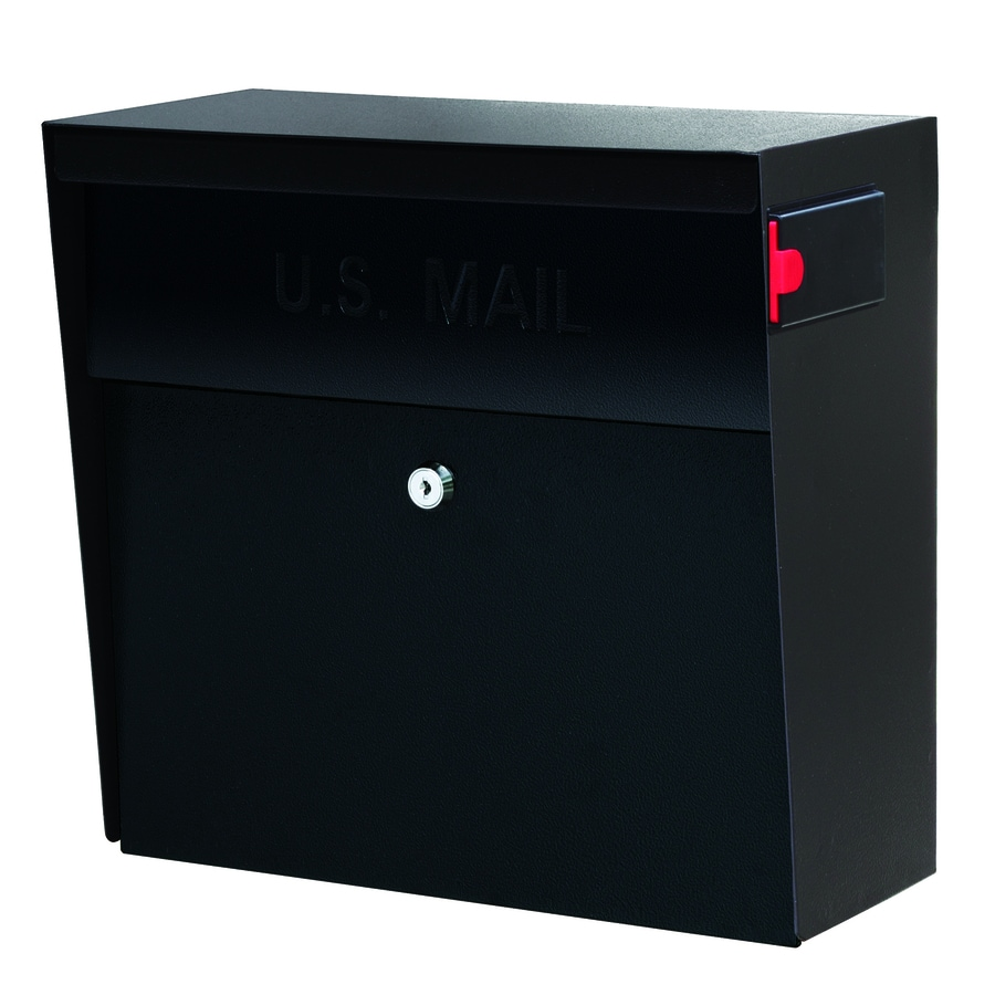 Mail Boss Metro 15.4-in x 14.75-in Metal Black Lockable Wall Mount Mailbox
