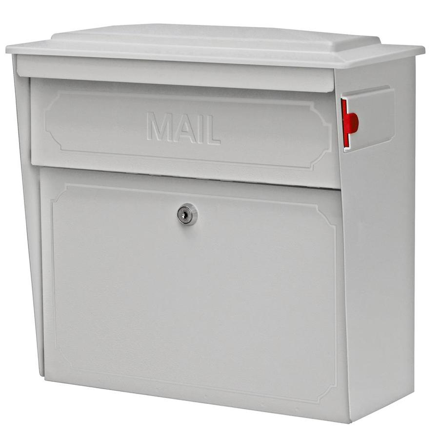 Mail Boss Townhouse 15.75-in x 16-in Metal White Lockable Wall Mount Mailbox