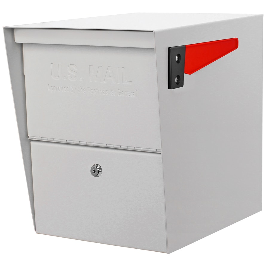 Mail Boss Package Master 12-in x 16.5-in Metal White Lockable Post Mount Mailbox