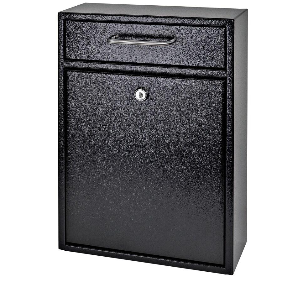 Mail Boss Olympus 11.2-in W x 16.2-in H Metal Black Lockable Wall Mount Mailbox