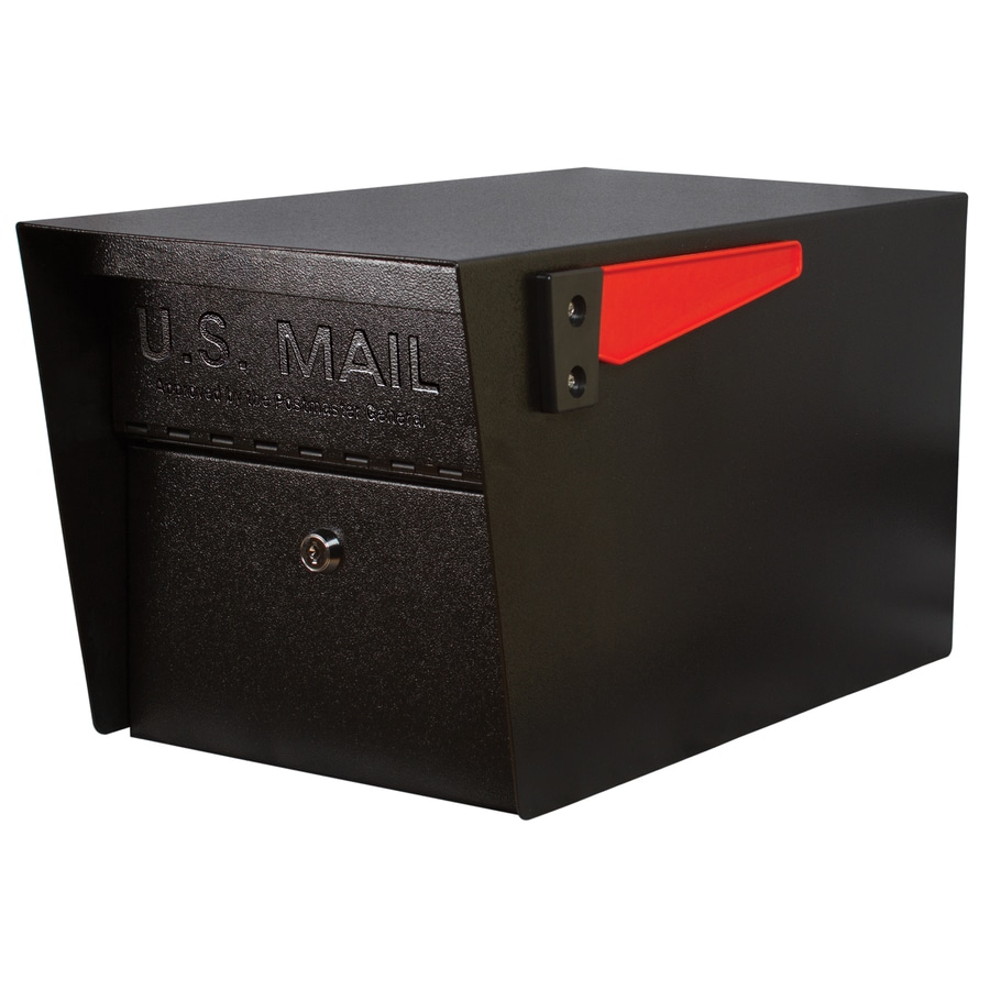 Mail Boss Mail Manager 10.75-in x 11.25-in Metal Black Lockable Post Mount Mailbox