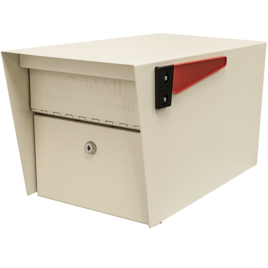 Mail Boss Mail Manager 10.75-in x 11.25-in Metal White Lockable Post Mount Mailbox