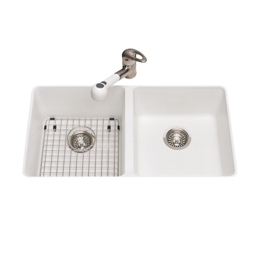 Kitchen Sink 19 X 33: Kindred 19.375-in X 33-in Polar White Double-Basin Granite