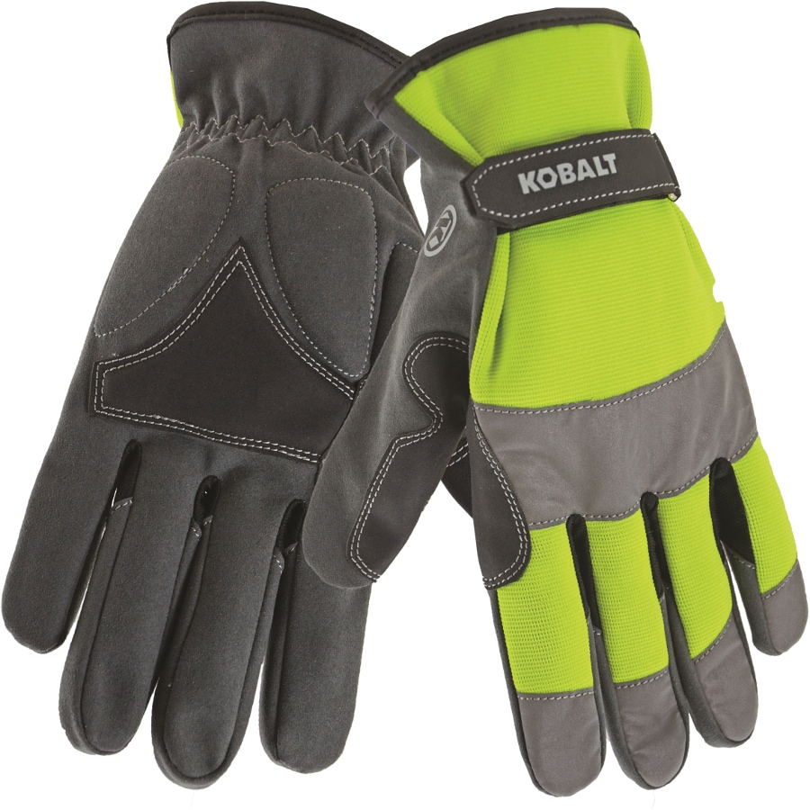 Kobalt Large Men's Polyester Leather Palm Work Gloves