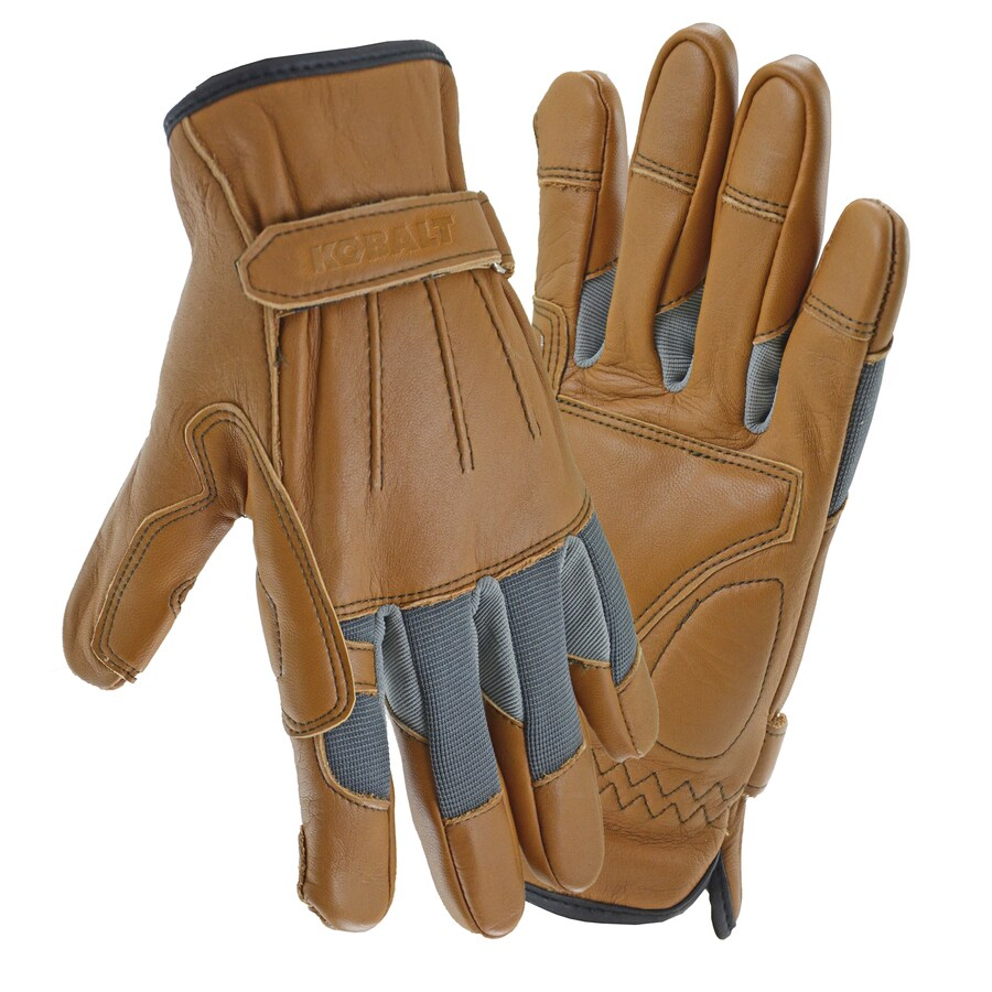 Kobalt Medium Men's Polyester Leather Palm Work Gloves