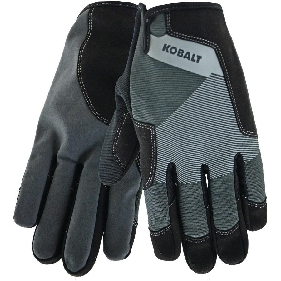 Kobalt Large Men's Polyester Leather Palm Work Gloves