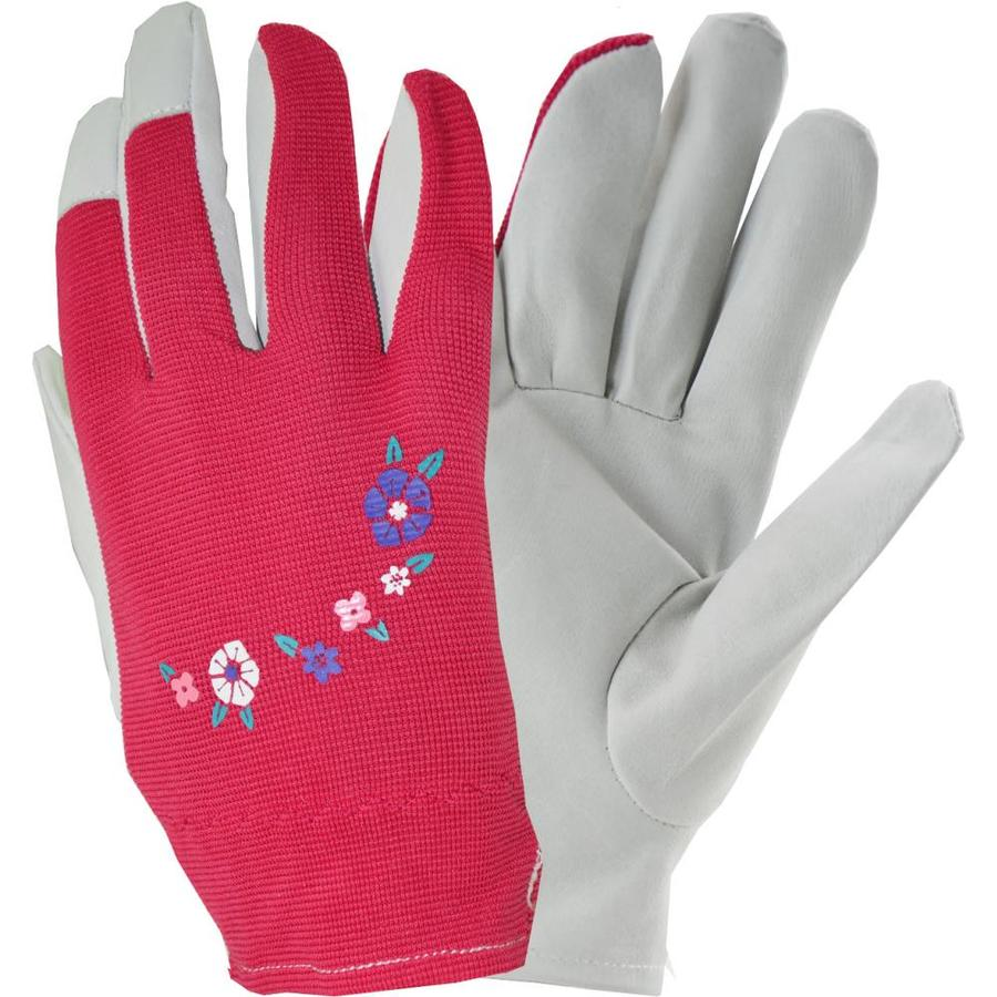 Style Selections Women's Medium Pink/White Leather Garden Gloves