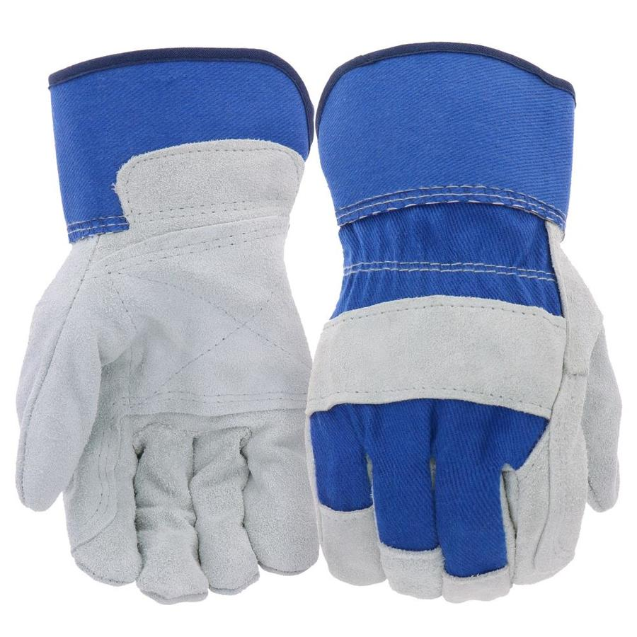 Blue Hawk Large Male Polyester Leather Palm Work Gloves