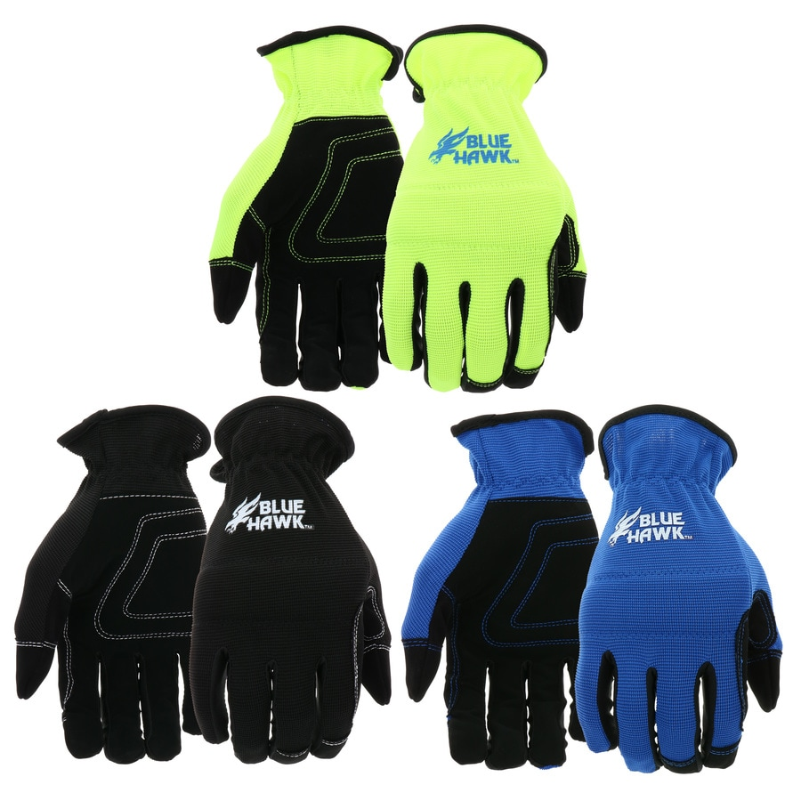 Blue Hawk 3-Pack Large Male Polyester Leather Palm Work Gloves
