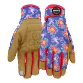 Wonderful Miracle Gro Womenu0027s Medium Purple/Tan Leather Garden Gloves