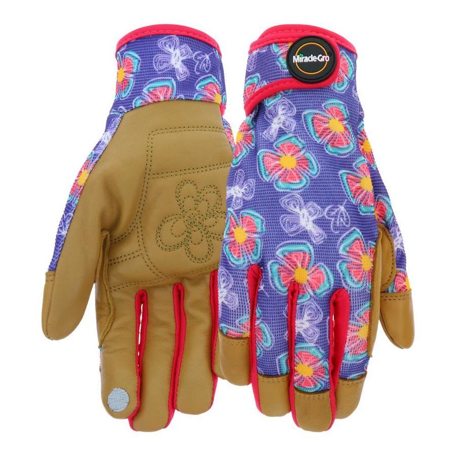 Beau Miracle Gro Womenu0027s Large Purple/Tan Leather Garden Gloves