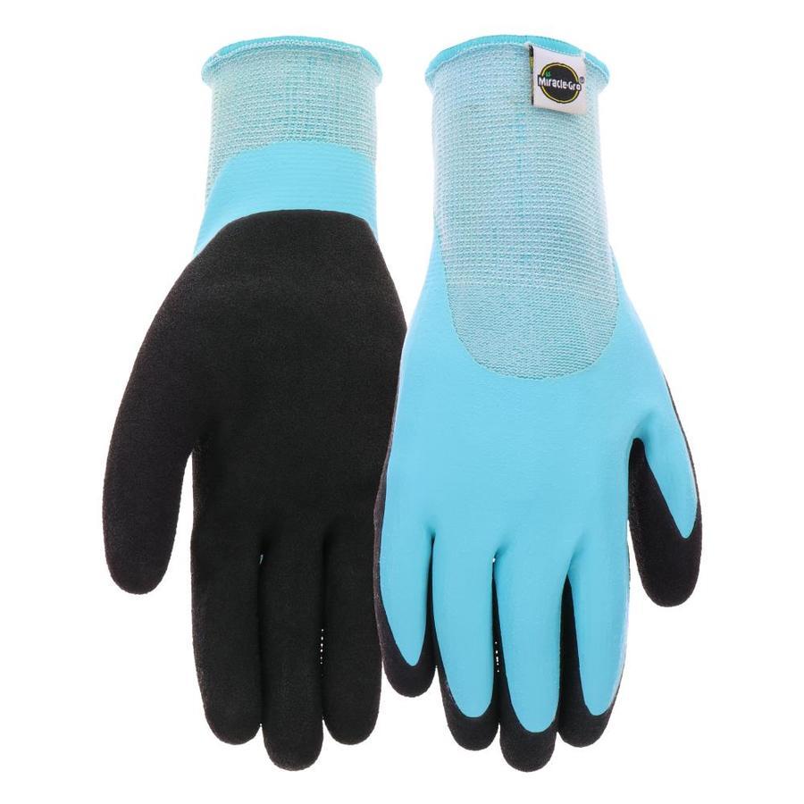 Charmant Miracle Gro Womenu0027s Medium Blue/Black Rubber Garden Gloves