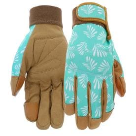 Style Selections Womenu0027s Medium Blue/Tan Leather Garden Gloves