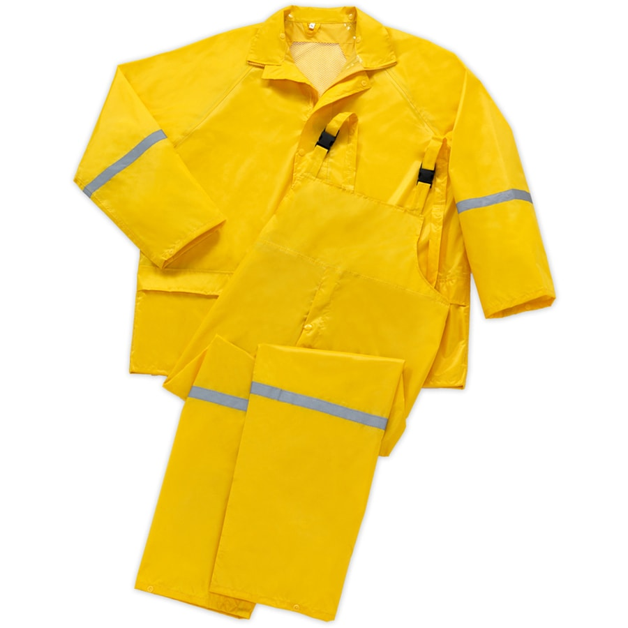 Extra Large Yellow Rip Stop Nylon Rain Suit (3-Piece) Stay dry and comfortable in the Terra 3-Piece Stay dry and comfortable in the Terra 3-Piece Yellow Nylon rain suit. Fabricated in heavy duty denier nylon this rain suit is lightweight enough to bring with you anywhere. % Waterproof and windproof this rain suit is ideal for emergency.