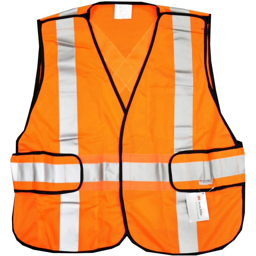 West Chester Adjustable Orange Polyester High Visibility Reflective Safety Vest