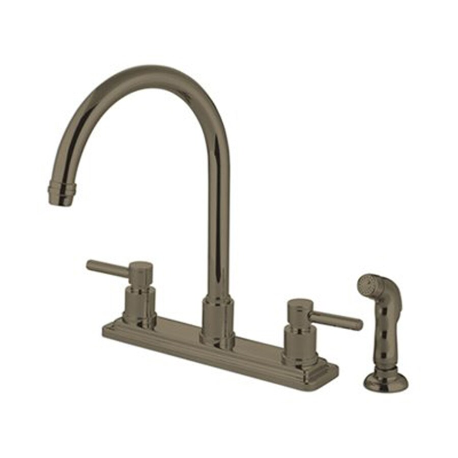 Elements Of Design Concord Brushed Nickel 2 Handle Deck Mount High Arc Handle Lever Residential Kitchen Faucet Deck Plate Included In The Kitchen Faucets Department At Lowes Com