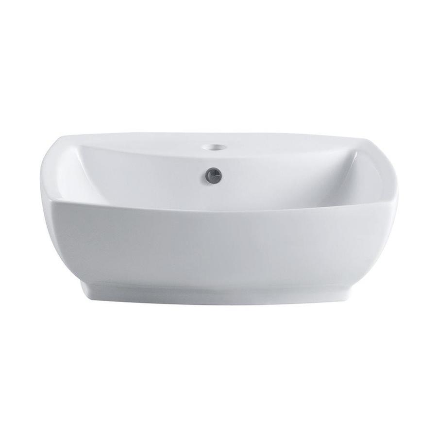 Elements Of Design Marquis White Vessel Rectangular Bathroom Sink