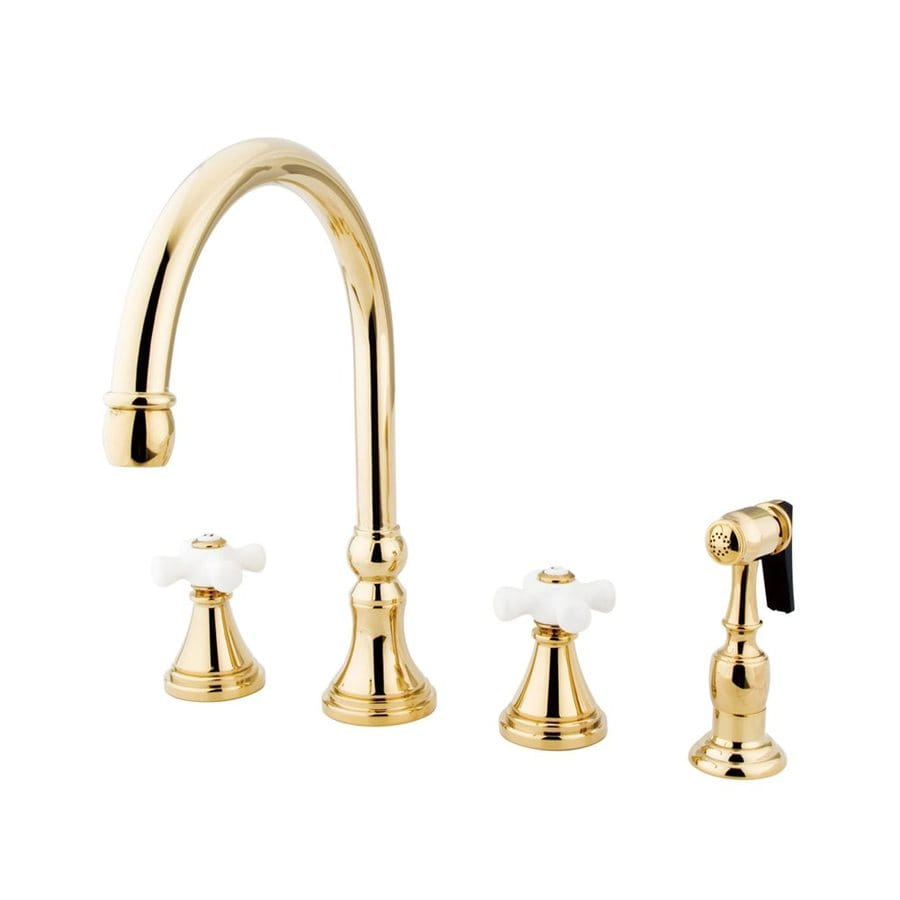 Elements Of Design Polished Brass 2 Handle Deck Mount High Arc