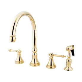 Elements Of Design Tuscany Polished Br 2 Handle Deck Mount High Arc Kitchen Faucet