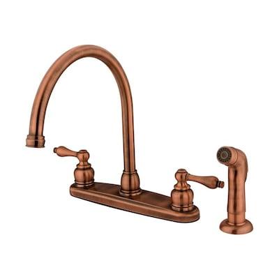 Victorian Antique Copper 2-Handle Deck Mount High-Arc Residential Kitchen  Faucet