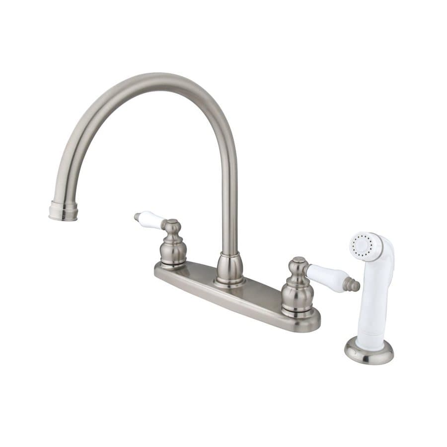 Elements Of Design Victorian Satin Nickel 2-Handle Deck Mount High-Arc Kitchen Faucet At Lowes.com