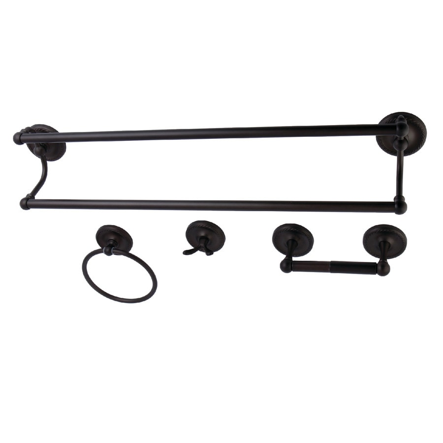 Shop kingston brass 4 piece laurel oil rubbed bronze for Bathroom hardware sets