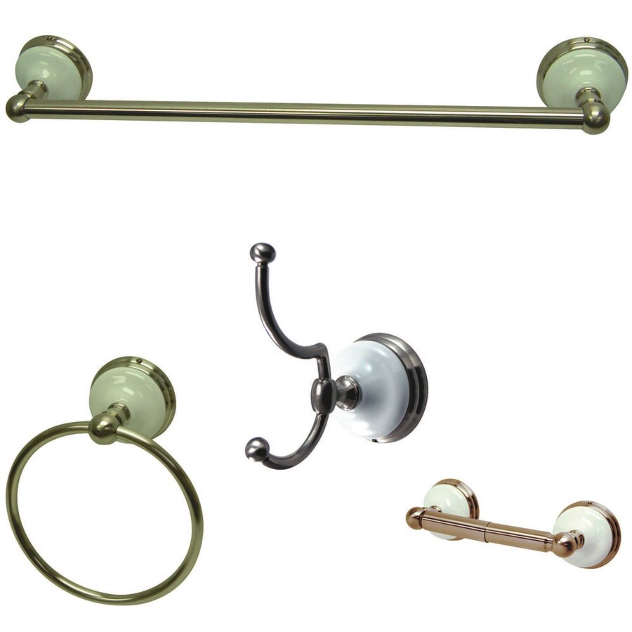 Shop Kingston Brass 4 Piece Victorian Satin Nickel Decorative Bathroom Hardware Set At